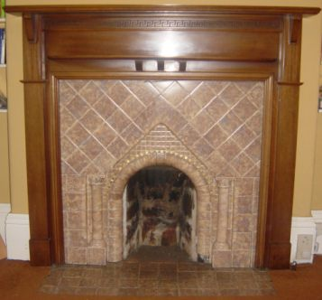 1920s tiled fireplace