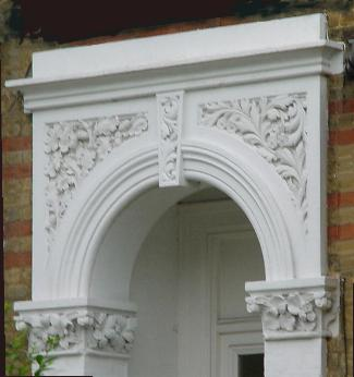 stucco, used round a porch