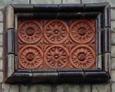 terracotta with glazed brick border
